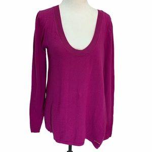 Halston Deep Scoop Neck Fuschia Sweater Size S🌸